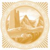 Torre antigua en el fondo de las montañas Fotos de archivo