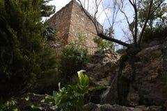 Torre araba dell'orologio a Mijas nelle montagne sopra Costa del Sol in Spagna Fotografia Stock