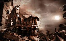 Torre arruinada de la casa y de reloj ilustración del vector