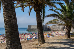 Torre beach in Oeiras, Portugal. Oeiras Portugal. 26 June 2017. Torre beach in Oeiras.  Oeiras, Portugal. photography by Ricardo Rocha Royalty Free Stock Photography