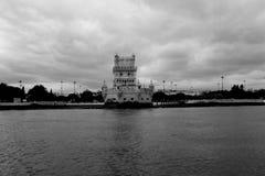 Torre Belém. Black&white Lisbon  tejo Royalty Free Stock Photo