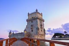 Torre of Belem, Lisbon, Portugal. Torre of Belem at sunset, famouse landmark of Lisbon, Portugal stock images