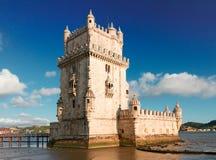 Torre of Belem, Lisbon, Portugal. View of Torre of Belem at sunny day, famouse landmark of Lisbon, Portugal stock images