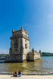 Torre of Belem at sunset, famouse landmark of Lisbon, Portugal, Royalty Free Stock Image