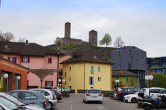 The Torre Bianca  of the Castelgrande and colorful buildings ,Be Royalty Free Stock Photos