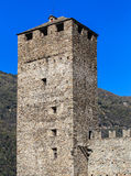 Torre Bianca tower of the Castelgrande fortress in Bellinzona. Torre Bianca tower of the medieval fortress Castelgrande in the city of Bellinzona, Switzerland Stock Photos