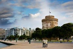 A torre branca de Tessalónica, marco da cidade fotos de stock royalty free