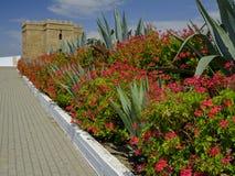 Torre Castillo de dame Blanca et jardins photographie stock
