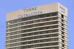 Torre Catalunya 1970年,摩天大楼在巴塞罗那(西班牙) 蓝天在背景中 免版税图库摄影
