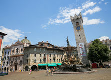 Torre Civica and Neptune Fountain in Trento, Italy Stock Photos