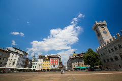 Torre Civica and Neptune Fountain in Trento, Italy Royalty Free Stock Images