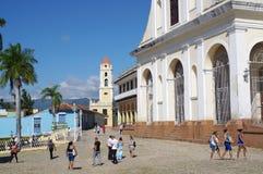 Torre colonial espanhola da arquitetura e de sino da igreja Fotos de Stock