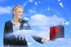 Torre commovente del server di dati della donna di affari Immagine Stock Libera da Diritti