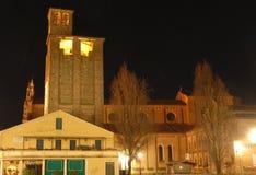 Torre con l'orologio nella sera Fotografia Stock Libera da Diritti