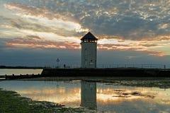 Torre costiera dell'allerta al tramonto Immagini Stock Libere da Diritti