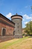 Torre d'angolo del castello di Sforza (XV C.). Milano, Italia Fotografie Stock