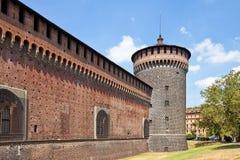 Torre d'angolo del castello di Sforza (XV C.). Milano, Italia Immagine Stock Libera da Diritti