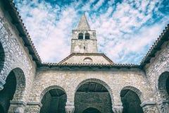 Torre da basílica de Euphrasian em Porec, filtro análogo foto de stock royalty free