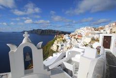 Torre da capela em Oia, Santorini foto de stock