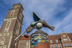 Torre da escultura e de igreja em Coesfeld Fotos de Stock