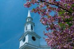 Torre da igreja quadro pelas flores de cerejeira em Lexington, Massachusetts, EUA Foto de Stock