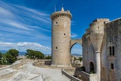 Torre da parte dianteira do castelo de Bellver Fotos de Stock