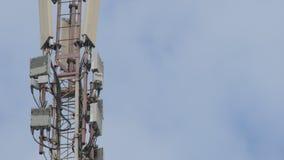 Torre da telecomunicação Telefone Polo Torre da telecomunicação com as antenas de uma comunicação celular no céu video estoque