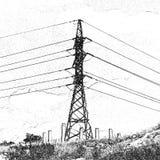 Torre da transmissão, pilão da eletricidade, desenho estilizado da mão no carvão vegetal da técnica Foto de Stock