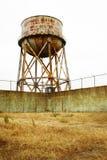 Torre de água oxidada de Alcatraz Imagens de Stock