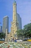 1869 torre de água velha de Chicago, Chicago, Illinois Fotografia de Stock