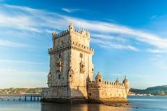 贝拉母塔- Torre de贝拉母在里斯本,葡萄牙 库存照片