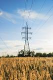 Torre de acero del cable de alimentación en paisaje del país en la oscuridad Foto de archivo libre de regalías
