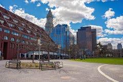 Torre de aduanas y muelle largo en Boston Foto de archivo