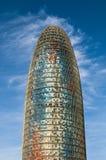 Torre de Agbar contra el cielo azul, Barcelona, Cataluña, España imagenes de archivo