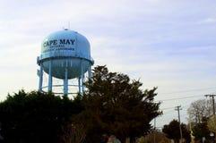 Torre de agua azul de Cape May de la señal histórica Fotos de archivo