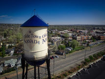 Torre de agua de Arvada de la ciudad de Olde Imágenes de archivo libres de regalías
