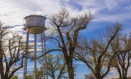 Torre de agua detrás de árboles de la primavera Imágenes de archivo libres de regalías