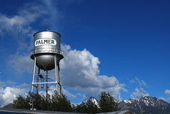 Torre de agua en Palmer, Alaska Fotos de archivo