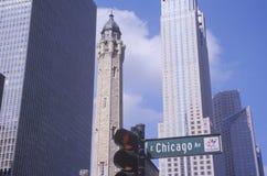 Torre 1869 de agua vieja de Chicago en la avenida de Michigan, Chicago, IL Fotos de archivo libres de regalías