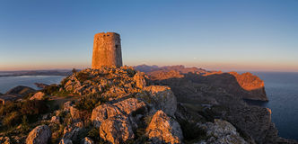Torre de Albercutx Panorama. The watchtower Torre de Albercutx on the Formentor peninsula was built in 1629. The towers were part of a defense system to protect stock photo