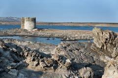 Torre de Aragonese en Stintino, Cerdeña. Italia. imágenes de archivo libres de regalías