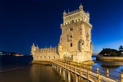 Torre de Belém en la oscuridad Foto de archivo libre de regalías