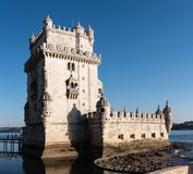 Torre de Belém, Belem Tower, medieval fortress, Unesco World He. Torre de Belém, Belem Tower on sunset, medieval fortress, Unesco World Heritage Site Stock Photo
