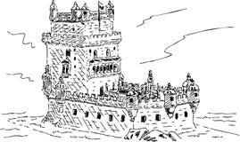 Torre de Belém em Torre português de Belém ilustração royalty free