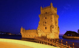 Torre de Belém, Lisboa na noite Fotografia de Stock Royalty Free
