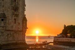 Torre de Belém no Tagus River fotografia de stock