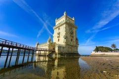 Torre de Belém no Tagus River Imagens de Stock Royalty Free