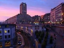 Torre de Bel-Air en el crepúsculo 01, Lausanne, Switzerlan Imagen de archivo