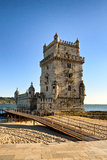 Torre de Belem. The tower of Belem, listed as an UNESCO World Heritage Site, bathing in the summer sun Royalty Free Stock Images