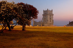 Torre de Belem. Belem Tower a landmark attached to portuguese navigation saga on the XV Century Stock Image